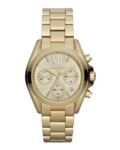 Mid-Size Golden Stainless Steel Bradshaw Chronograph Watch by Michael Kors  at Neiman Marcus. b9808ead7e