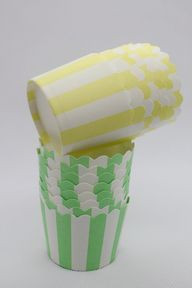 50 Yellow Green Striped Greaseproof Paper Baking Cups Cake Cups Cupcake Cups Ice Cream Cups Treat Dessert Portion Cups Muffin Paper Cups, $7.5