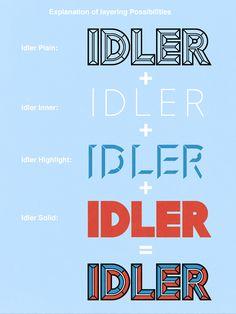 Idler: layered 3D font - Lamesville