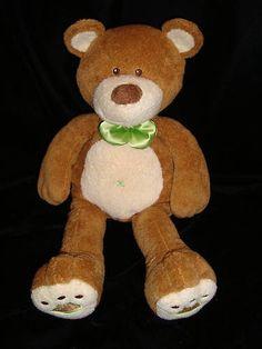 """Mary Meyer Bear Brown 16"""" Teddy Plush Cream Green Bow Trim Stuffed Animal Toy"""