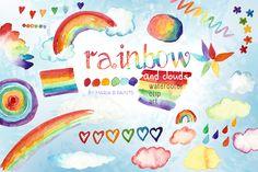 Watercolor Clip Art - Rainbow, Cloud by Maria B. Paints on Creative Market