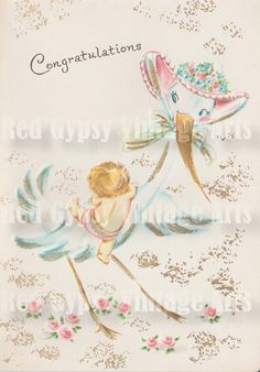 Baby Congratulations Stork Vintage Greeting by RedGypsyVintageArts