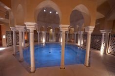 Arabic Hammam Al Ándalus in Malaga, Spain. Enjoy a traditional kessa massage before relaxing in the hot, warm and cold baths and steam room.