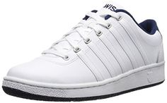 K-Swiss Men's Court LX Lace-Up Shoe, White/Navy, 9.5 M US *** Visit the image link more details.