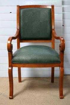 Fauteuil Crosse de style Louis Philippe TISSU ROUGE , meuble en ...