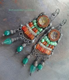 Layered gemstone beaded abacus earrings by DiPiazzaMetalworks
