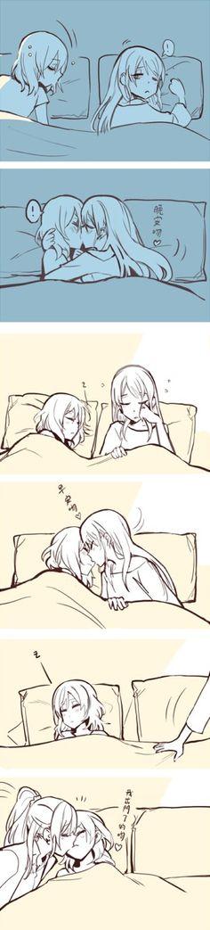 Anime Girlxgirl, Yuri Anime, Otaku Anime, Cute Lesbian Couples, Lesbian Art, Beautiful Anime Girl, Anime Love, Yuri Comics, Desenhos Love