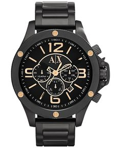 2f37a3c32 A|X Armani Exchange Men's Chronograph Black Ion-Plated Stainless Steel  Bracelet Watch 48mm AX1513 & Reviews - Watches - Jewelry & Watches - Macy's
