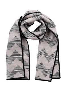 Chevy Strie' reversible Merino wool scarf, pearl, black and linen. 100% Merino wool, woven and made in England.