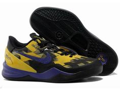 Nike Zoom Kobe 8 ELITE Series Shoes Black Purple Yellow $56.62 #Kobe Bryant Basketball Shoes