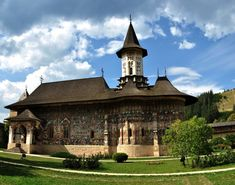 Romania-Sucevita Monastery is a wooden masterpiece, between hills, dating since century. , the Sucevita was built before 1582 Exterior Paint, 16th Century, Romania, Around The Worlds, Mansions, Architecture, House Styles, Building, Places