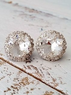 Clear crystal earrings | Stud earrings | Bridal earrings | white wedding | silver wedding| crystal earrings by EldorTinaJewelry | http://etsy.me/1JA7e0P