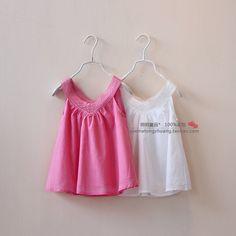 Barato Frete grátis 2014 de verão para crianças roupas meninas vestido de decote em V rendas colete 100% algodão bonito encabeça 304907, Compro Qualidade Blusas - Meninas diretamente de fornecedores da China:  Tecido: 100 % algodão    Cor: vermelho / branco    Tamanho : 2T -3T - 4T - 5T - 6T ( 1 : 1 : 1 : 1 : 1 )    1 lote =