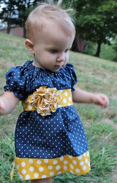 Girls Peasant Dress - Navy Blue and Yellow Polka Dots - Made to Order Sizes 6Months-6t by MadilynnsBoutique on Etsy https://www.etsy.com/listing/209572648/girls-peasant-dress-navy-blue-and-yellow