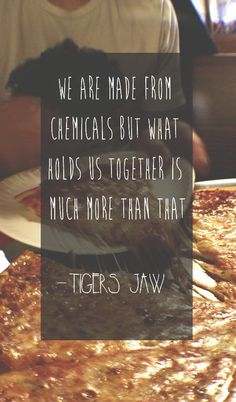 """""""We are made from chemicals but what holds us together is much more than that."""" Picture Quote by Tigers Jaw"""