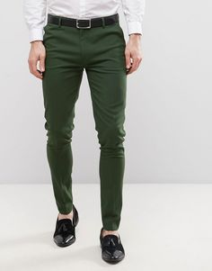ASOS Super Skinny Smart Pants In Dark Green