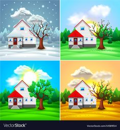 House and nature four seasons photo-realistic vector illustration , Seasons Lessons, Four Seasons Art, Art For Kids, Crafts For Kids, Arts And Crafts, Seasons Activities, Preschool Activities, Beautiful Landscape Wallpaper, Kids Background