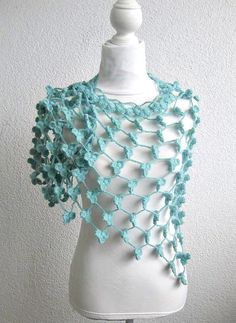 Marino crochet Shawl, Crochet Triangle Shawl, Crochet Neck warmer, Wedding Shawl,  Shamrock green,Tiffany Blue, Triangle,Ultramarine Green