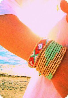 Friendship Bracelet Aztec in Aquamarine color door sobohemians