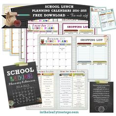 InTheLeafyTreetops.com - Lunch Planning Calendars, $2.99 (http://intheleafytreetops.com/lunch-planning-calendars/)