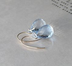 Something Blue Topaz Earrings // Solid 14K Gold // Bridal Jewelry on Etsy, $128.00