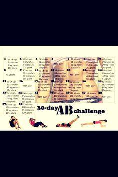 30 Day Ab Challenge Calendar #Health #Fitness #Trusper #Tip