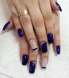 Fancy nails, pretty nails, creative nails, blue and silver nails, cobalt blue New Nail Designs, Acrylic Nail Designs, Acrylic Nails, Acrylic Art, Stylish Nails, Trendy Nails, Blue And Silver Nails, Nailart, Super Nails