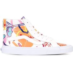 Sankuanz lace-up hi-top sneakers ($173) ❤ liked on Polyvore featuring shoes, sneakers, multicolor, hi tops, high top trainers, leather hi top sneakers, leather lace up shoes and leather high top sneakers