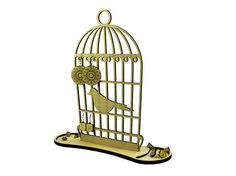 Bird cage wood organizer - engraved - lasercut - jewelry stand - nature - decoration - wooden art