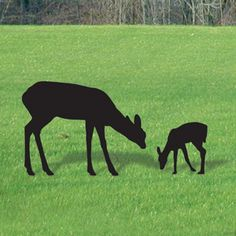 """Grazing Deer DIY Woodcraft Pattern #1966 -  Life-size deer. Largest is 40""""H x 53""""W. 2 Designs! Match with #1977 and #1978. Pattern by Sherwood Creations #woodworking #woodcrafts #pattern #yardart #craft #shadow #deer"""