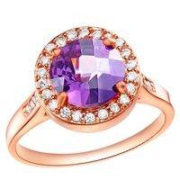 Wish | 18K Rose Gold Plated Cocktail Ring Art. SC-RJ203 (Purple Stone)