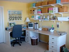 Shelves, filing cabinets to hold table,