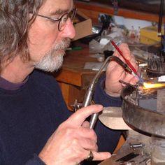 Making silver jewelry.