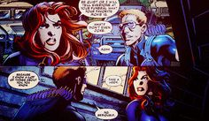 fuckyeahblackwidow:    Natasha: Be quiet or I will tell everyone at your funeral what your favorite movie is.Clint: What? Don't even joke.Natasha: Sshh.Clint: Because I know a lot of things about you, you know.  From Avengers Assemble #1, by Brian Michael Bendis and Mark Bagley.