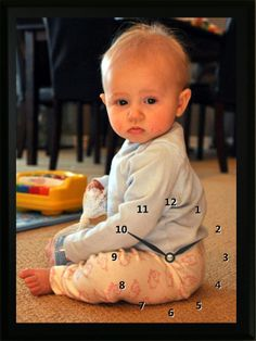 This Baby Sitting Clock is a great reminder of when this little girl was just a baby. Custom Photo clocks are a great way to remember your child's past. Photo Clock, Baby Sitting, Custom Photo, Your Child, Clocks, Little Girls, Children, Boys, Toddler Girls