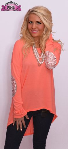 Neon Coral Everyday I'm Sparklin' Top $32.00