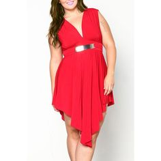 Wholesale Graceful Plunging Neck Sleeveless Asymmetrical Plus Size Women's Dress Only $8.43 Drop Shipping | TrendsGal.com