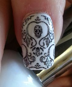 SKULL DEMASK Nail Art Decals - Full Nail Decoration Long and Short Nails - BLACK Transparent Gothic Waterslide Stickers