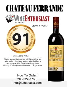 #winetasting #redwine 91 Points Rating Wine Enthusiast: Chateau Ferrande Red 2012