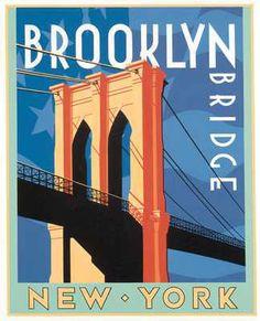 Brooklyn Bridge New York Poster Art New York Poster, Brooklyn Bridge New York, Berenice Abbott, New York Art, New York Travel, Vintage Travel Posters, Illustrations Posters, Art Posters, Poster Prints