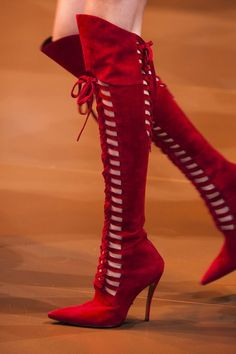 Red Versace Fall boots 2014 #red #boots *Visit board - best shoes, boots  heels ♡ to be added just comment on a post**