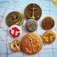 8 Vintage Nautical Anchor Buttons Altered Art