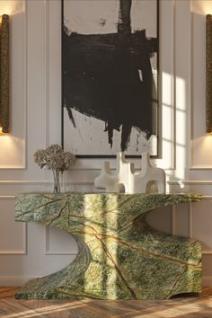 Rustic and yet modern, this hallway design is anything but dull. The two VELLUM XL Wall Lights accentuate the beautiful green, brown and beige colours that we see in the BRYCE II Console. Emulating a rough mossy wood, this unique and breathtaking console will certainly make your passageway the focal point of your home.
