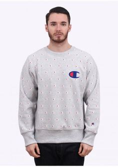 Champion Reverse Weave Pattern Logo Sweatshirt - Red | Need this ...
