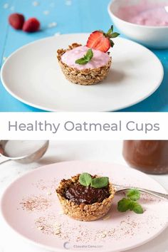 You just need a few ingredients to make these gluten-free oatmeal cups 🧁 They are sweet and can be enjoyed with different healthy fillings. Healthy Sweet Snacks, Quick Snacks, Good Healthy Recipes, Healthy Breakfast Recipes, Healthy Desserts, Quick Easy Meals, Brunch Recipes, Gluten Free Recipes, Yummy Recipes