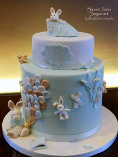 Baby Blue & Brown Baby Boy Bunnies and Clothesline Shower Cake