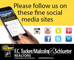 Do not miss any of F.C. Tucker/ Malcolm & Schlueter, Realtors action, by following us on all of your Social Media pages.  #fctuckermalcolmschlueter #facebook #instagram #linkedin #twitter #pinterest #followus   mstuckerftwayne.com Social Media Pages, Social Media Site, Real Estate Jobs, School Info, Follow Us, We Are Hiring, Looking For A Job, Happy House, Have Time
