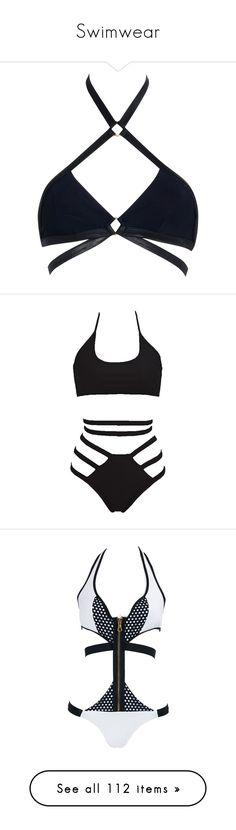 """Swimwear"" by erika-sads ❤ liked on Polyvore featuring swimwear, bikinis, bikini tops, tops, underwear, bikini, bathing suits, black, swim tops and swimsuits two piece"