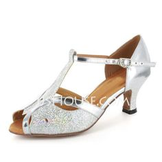 Women's Sparkling Glitter Patent Leather Heels Sandals Latin Ballroom Wedding Party With T-Strap Dance Shoes (053021494)