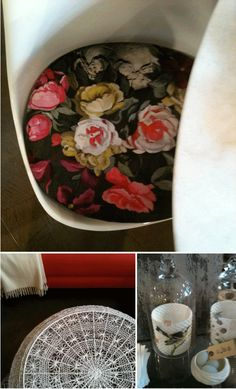 I love this lace-covered ottoman